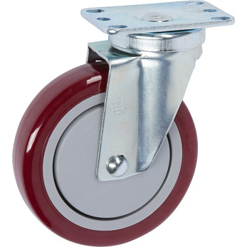 "SWIVEL - 5""x 1-1/4"" Light-Medium Duty Food Service Caster with Non-Marking Pro-Tech Polyurethane wheel"