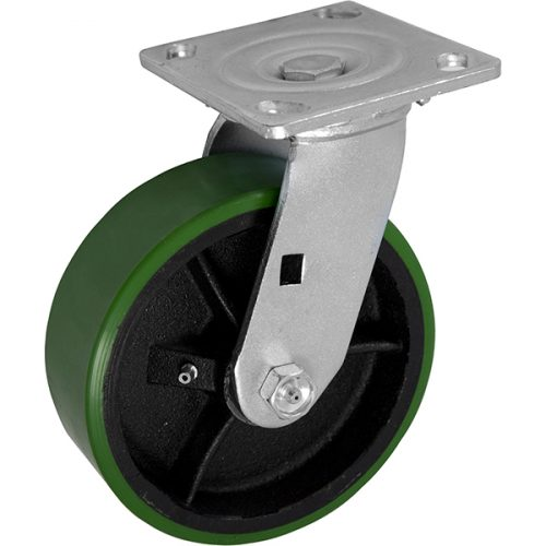 "SWIVEL - 6""x 2"" Medium Heavy Duty Caster with Non-Marking Polyurethane Tread Cast Iron wheel"