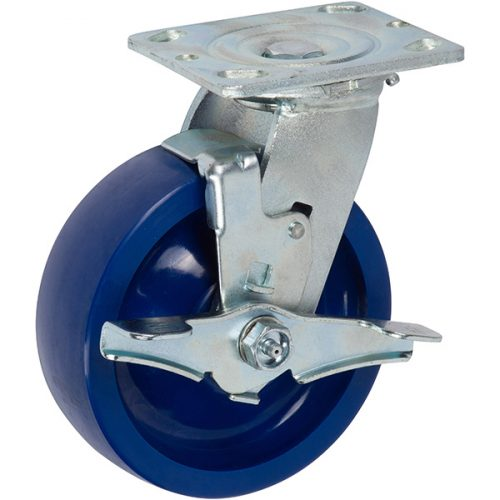 "TOP LOCK BRAKE - 6""x 2"" Medium Heavy Duty Swivel Caster with Top Lock Brake Non-Marking Solid Polyurethane Wheel"