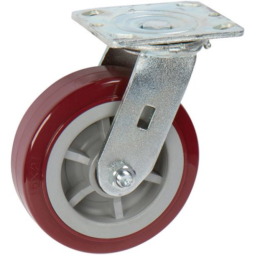 "SWIVEL - 6""x 2"" Medium Heavy Duty Caster with Pro-Tech Polyurethane Wheel"