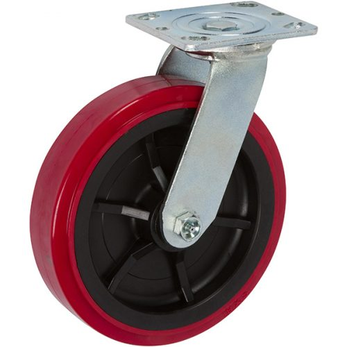 "SWIVEL - 8""x 2"" Medium Heavy Duty Caster with Pro-Tech Polyurethane Wheel"