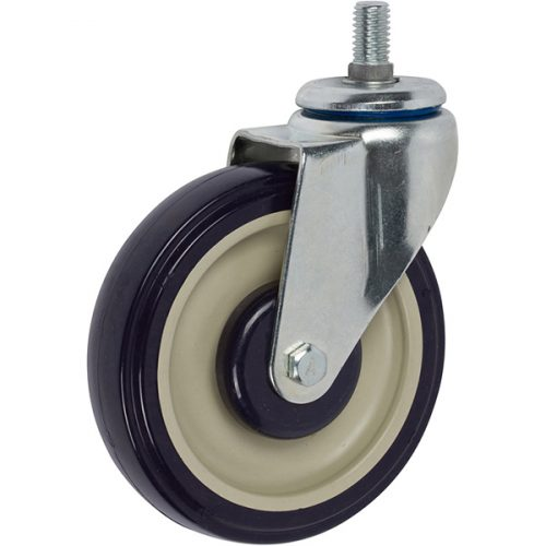 """SWIVEL - 5"""" Shopping Cart Caster Swivel with 1/2""""-13 x 1"""" Threaded stem with Key Lock"""