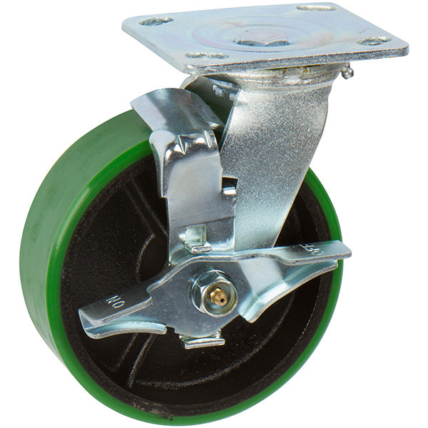 Heavy Duty Green Locking Caster Wheels with Non Marking Caster Wheels - Polyurethane Tread Cast Iron Wheel - Top Lock Brake Caster