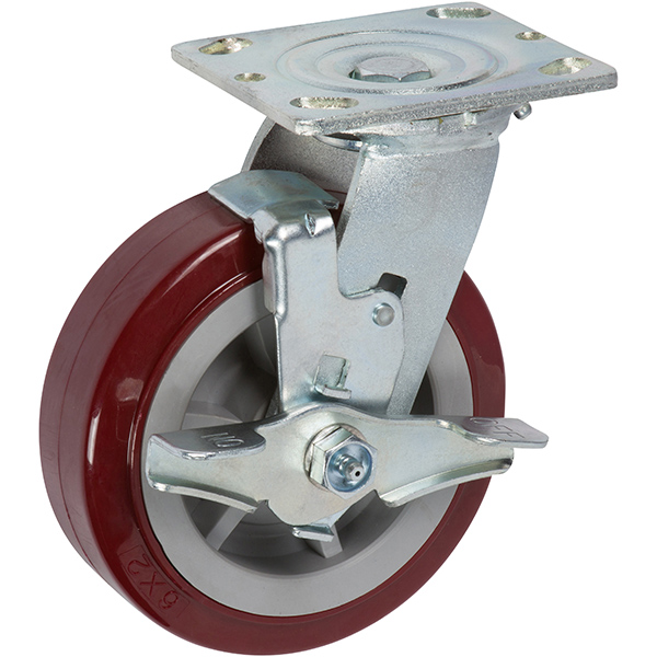 Heavy Duty 6 inch Red Caster with Locking Casters - Top Lock Brake Caster (Maroon)