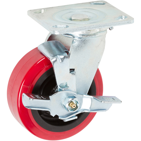 Six Inch Red Industrial Casters with Top Lock Brake Caster