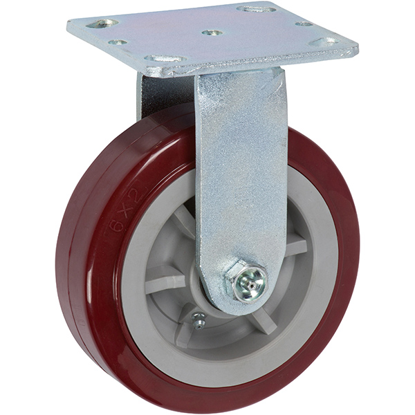 6 Inch Industrial Caster with Non-Marking Casters - Polyurethane Tread (Maroon)